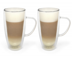 Dubbelw.glas cappuccino/latte m. 400ml s/2