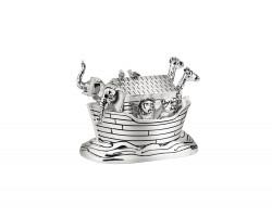 Muziekdoosje Noah's Ark 8,5x5,5x6cm zilver kleur
