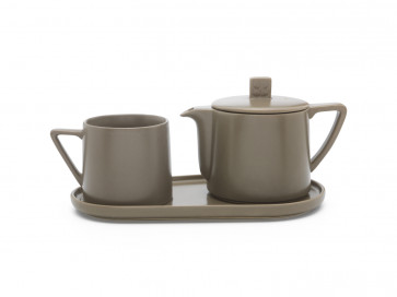 Tea-for-one set Lund, warm grey