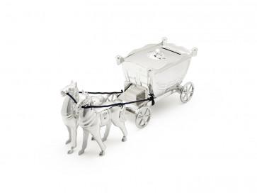 Spaarpot Koets met 2 paarden verz. gelakt