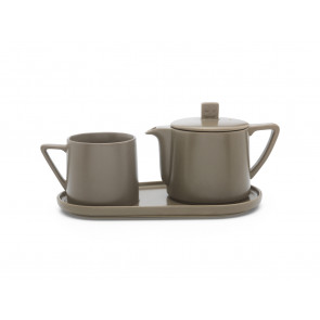 Tea-for-one set Lund, warm grey