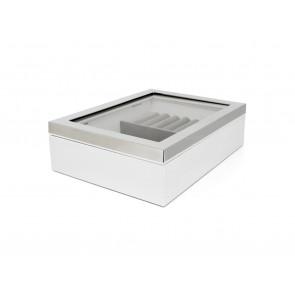 Sieradendoos venster + rand zilver kleur