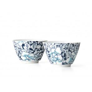 Theekopjes Yantai, set van 2, donkerblauw, porselein